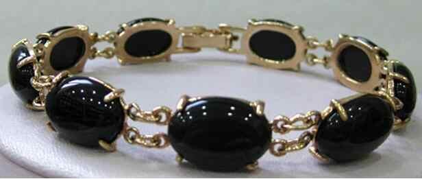 Bijoux Bracelet en perles prix de gros! Livraison gratuite GP 10X14MM perle noir Agates Bracelet livraison gratuite