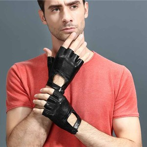 Image 5 - Fingerless Leather Gloves Car Driving Gloves Mens Genuine Unisex Female Women Sports Half Fingers Tactical Anti Slip Breathable