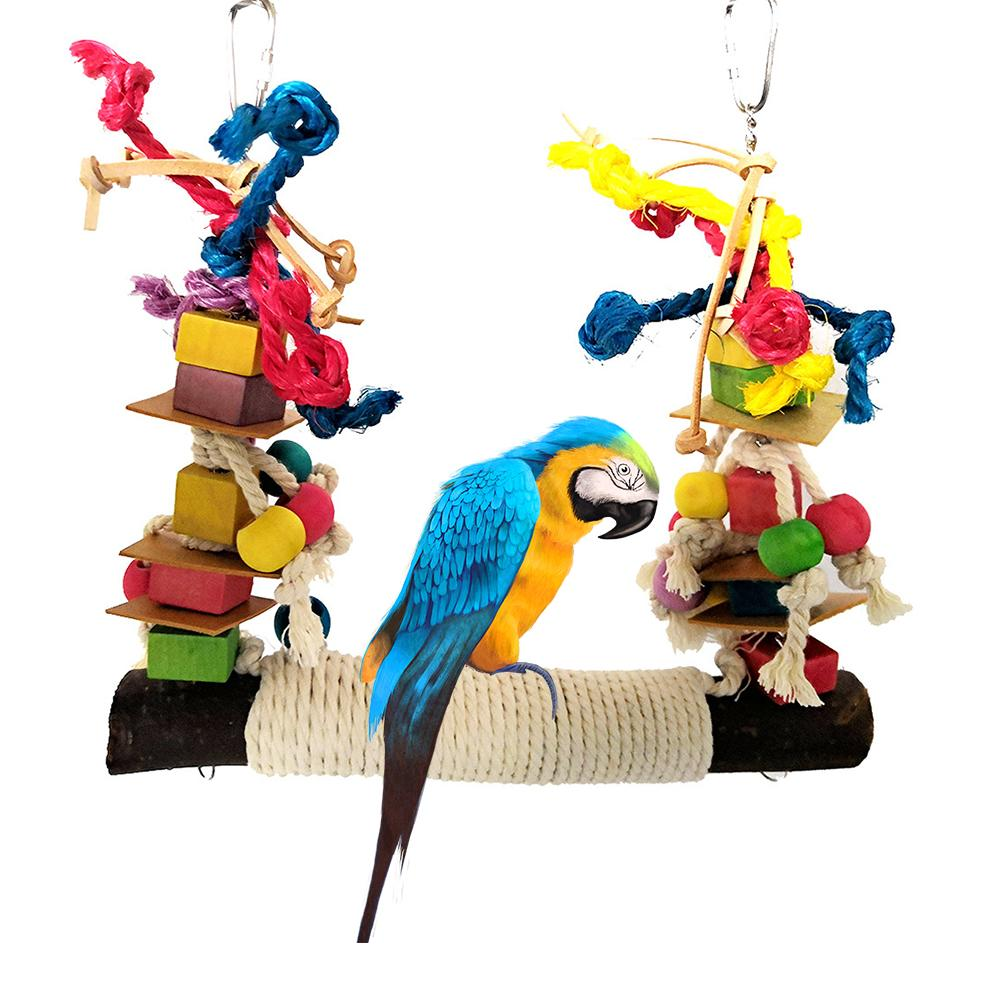 Pet Bird Parrot Chew Toy Bird Perch Leather Colorful Wood Building Block Cotton Rope Big Conure Swing For Pet Birds