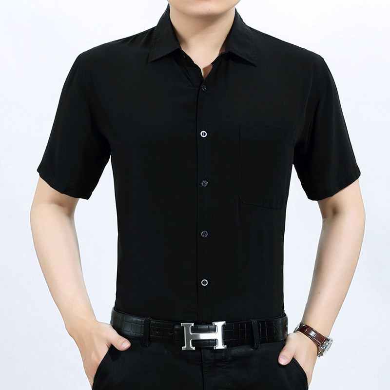 Summer Real Silk Shirt Men Short Sleeve White Shirt 2020 Formal Mens Shirts Casual Slim Fit Camisa Masculina KJ1939