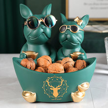 Dog lovers Figurines Moden Crafts Animals Miniature cute ornaments for Home office decoration Storage bowl Carved Collectible