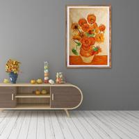 DIY Framed Oil Paintings Chinese Simplicity with Sunflower Window Wall Pictures Home Corridor Bedroom Bedside Study Decor