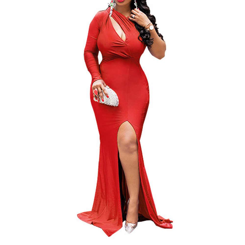 Afrikaanse Dames Sexy Een Schouder Avond Party Lange Jurk Schede Plus Size Hollow Out Hoge Split Vrouwen Maxi Prom Jurken