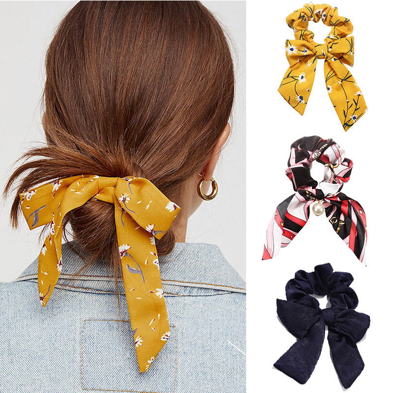 Big Bow Hair Ring Accessories Korean America Rope Elastic Vintage Pattern Knotted Ribbon Girl Hair Bands Bohemian   Headwear