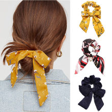 Big Bow Hair Ring Accessories Korean America Rope Elastic Vintage Pattern Knotted Ribbon Girl Hair Bands Bohemian Headwear(China)