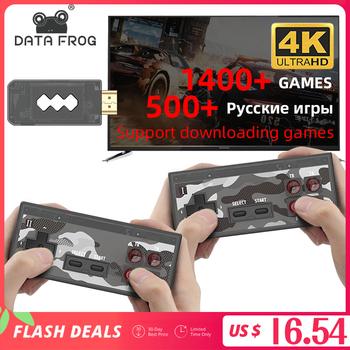 Dane żaba USB bezprzewodowy ręczny konsola do gier TV wideo budować w 1400 klasyczna gra 4K 8 Bit Mini konsola gier wideo wsparcie HDMI wyjście tanie i dobre opinie DATA FROG CN (pochodzenie) Us wtyczka Y2 HD Video Game Console Built-in 1400 Games Not Incude 2 Players 2 dual wireless controller