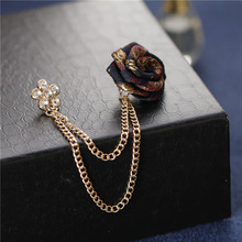 Brooches Tassel Chain Vintage Mixed Fabric Rose Men Suit Collar Brooch Broche Lapel Pin Brooches for Women Jewelry Accessories vintage fabric houndstooth bow brooch lapel pin necktie ribbon brooches jewelry luxury crystal broche gift for women accessories