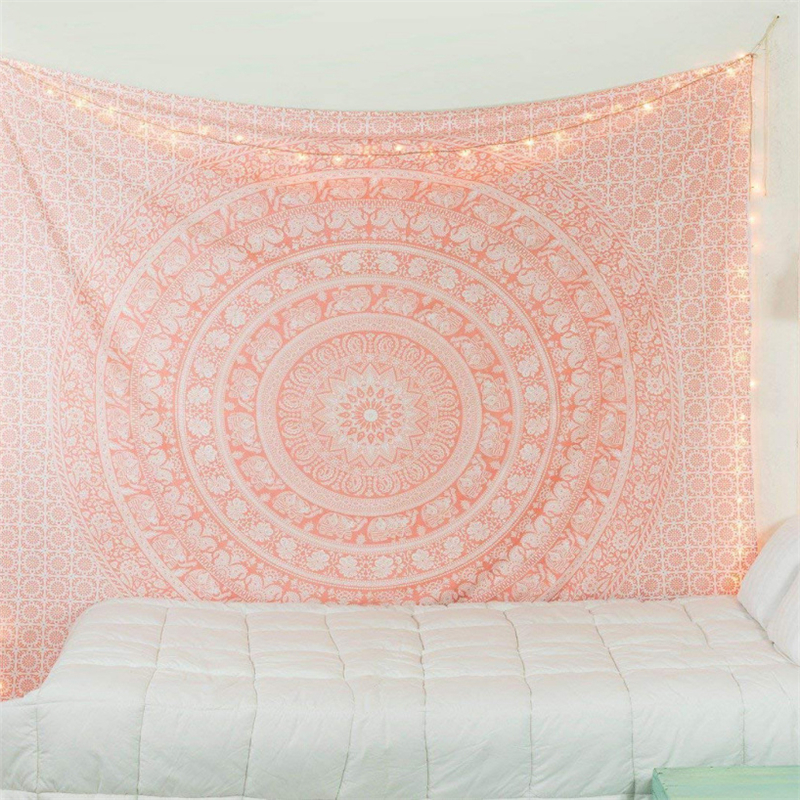 Bohemian Mandala Tapestry Pink Tenure Hippie Tapestry Indian Elephant Boho Decor Background Large Blanket Wall Cloth Tapestries