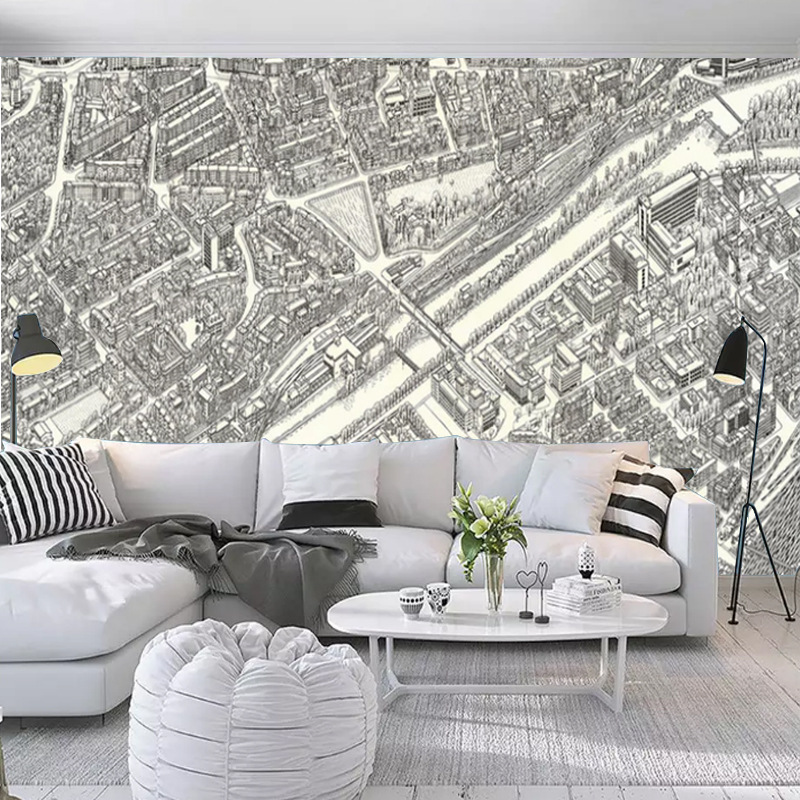Customizable Northern European-Style American Vintage Black And White City Street Case Composite  materials Map Living Room Tele