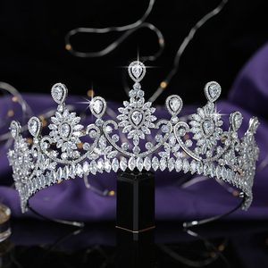Image 3 - 크라운 HADIYANA 유행 꽃 디자인 여성 결혼 신부 헤어 액세서리 파티 헤어 쥬얼리 큐빅 지르콘 BC5576 코로나 Princesa