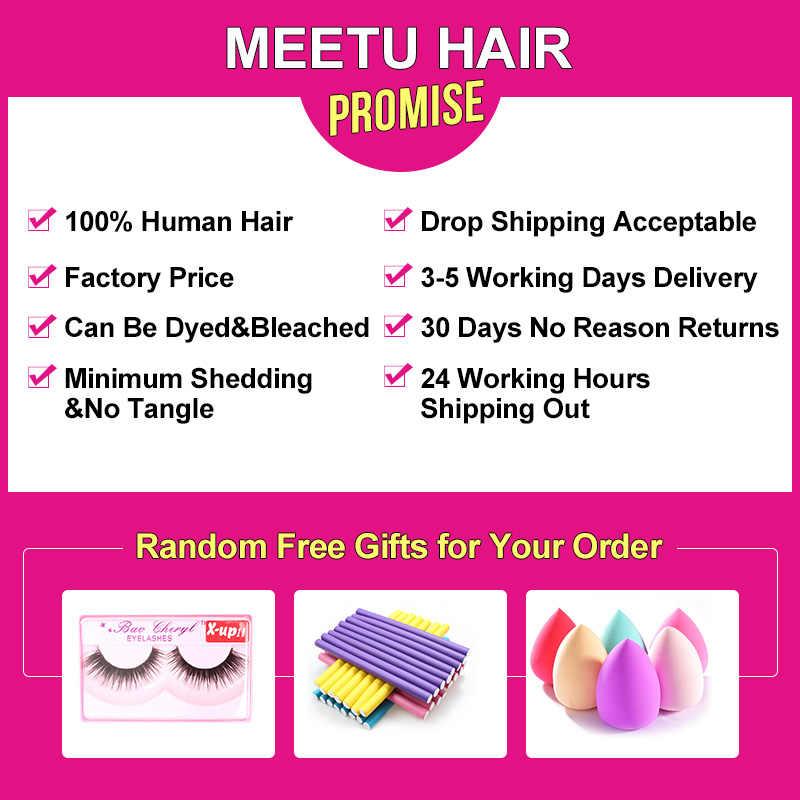 Mechones rizados malayos de pelo Meetu con cierre 4 paquetes con cierre cabello de bebé 100% paquetes de cabello humano con cierre no remy