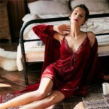 JULYS SONG Conjunto de pijama Sexy de terciopelo para mujer, bata de invierno, encaje de otoño, Sexy y elegante, ropa de dormir cálida, camisón