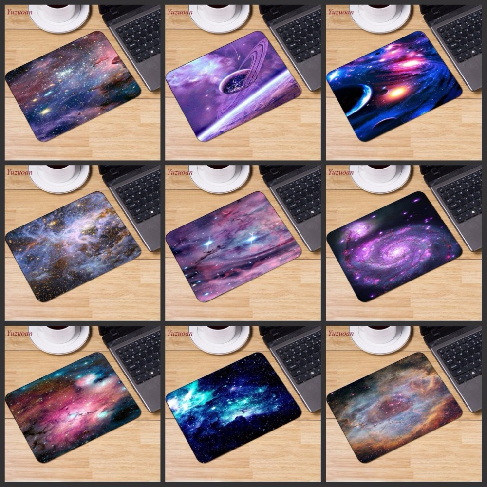 Yuzuoan Big Promotion Russia Colorful Space Colour Gaming Mouse Pad Computer Mats Mousepad Rubber Rectangle Mousemats 22X18CM