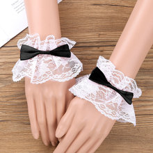 Wrist-Cuffs Hand-Wear Cosplay Decorative-Bands Lace Ruffled Women for Costume Party Floral