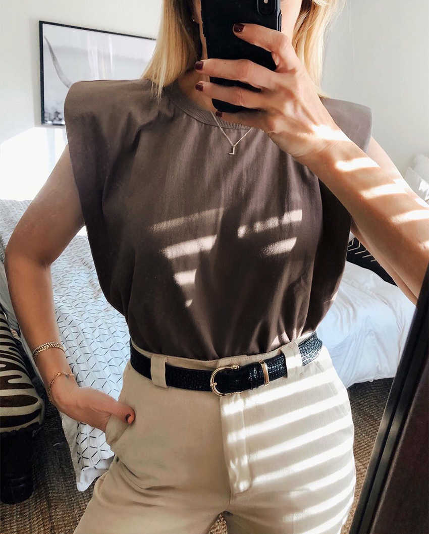 夏のノースリーブトップ女性oネックホワイト女性ブラウスシャツ女性のシックなカジュアルブラウス黒綿2020ブラウン