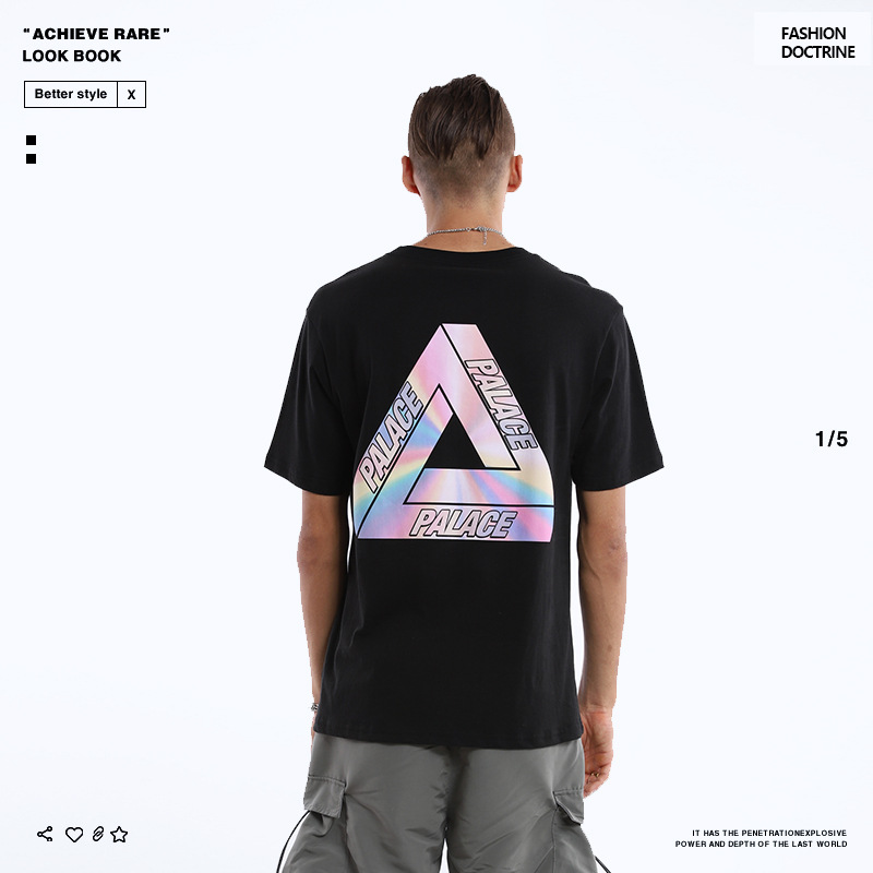 Palace Life 2019 Europe And America Popular Brand Summer Audio Technica Logo Creative Pure Cotton Casual MEN'S Short-sleeved T-s