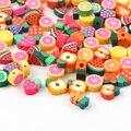 Случайный Цвет, 50 шт в наборе, смешанный фруктовый мягкая глина свободные бусины для изготовления ювелирных изделий ручной работы Детский Б...