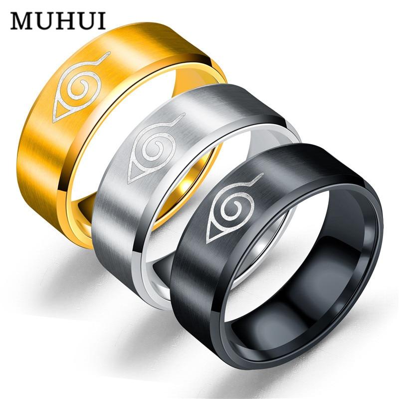 Wholesale Ring Leaf Konoha Village Symbal Logo Sasuke Ninja Titanium Steel Anime Jewelry Cosplay Women Anillo
