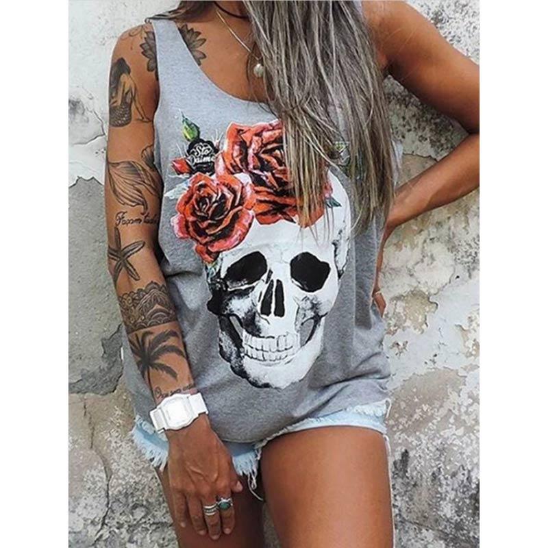Summer Dresses Women Punk Style Loose Halter Neck Sleeveless Skull Print Female Shirt Dress Street Side High Split Flower Print 8
