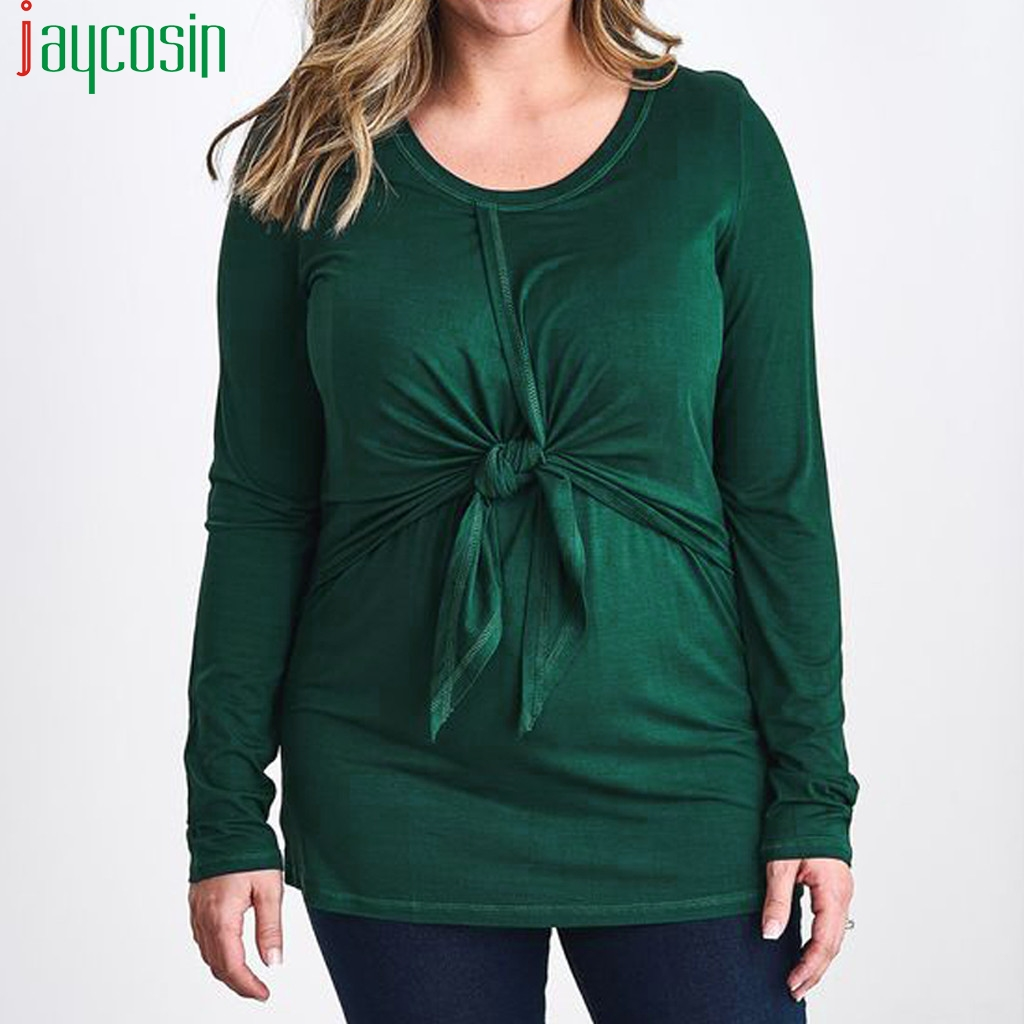 Women breastfeeding T-shirt long-sleeved loose plus size <font><b>bow</b></font> <font><b>Tshirt</b></font> O-neck Ladies Top casual breathable sports running Femme Tee image