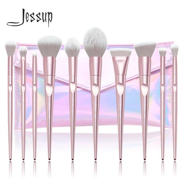 Jessup 10 sztuk zestaw pędzli do makijażu Dropshipping pincel maquiagem różowy Powder eyeshadow wyróżnij pędzel kosmetyczka T260 + CB003