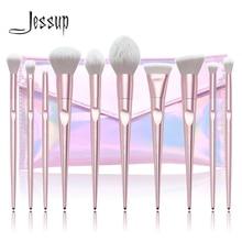 Jessup 10pcs Makeup Brushes Set Dropshipping pincel maquiagem Pink Powder eyeshadow Highlight brush Cosmetic bag T260+CB003