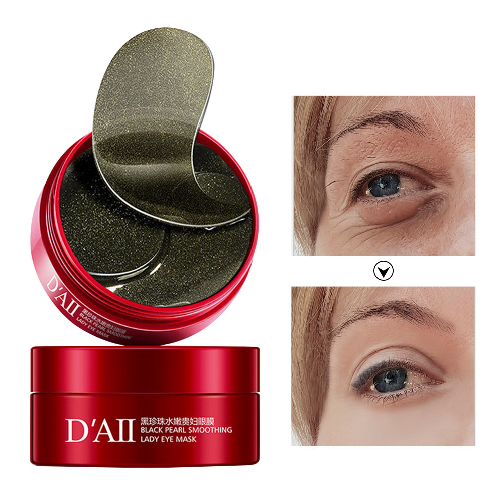 60Pcs Black Pearl Eye Mask Collagen Gel Eye Patches Under Eye Dark Circles Removal Moisturizing Eyes Pads Masks Anti-Puffiness