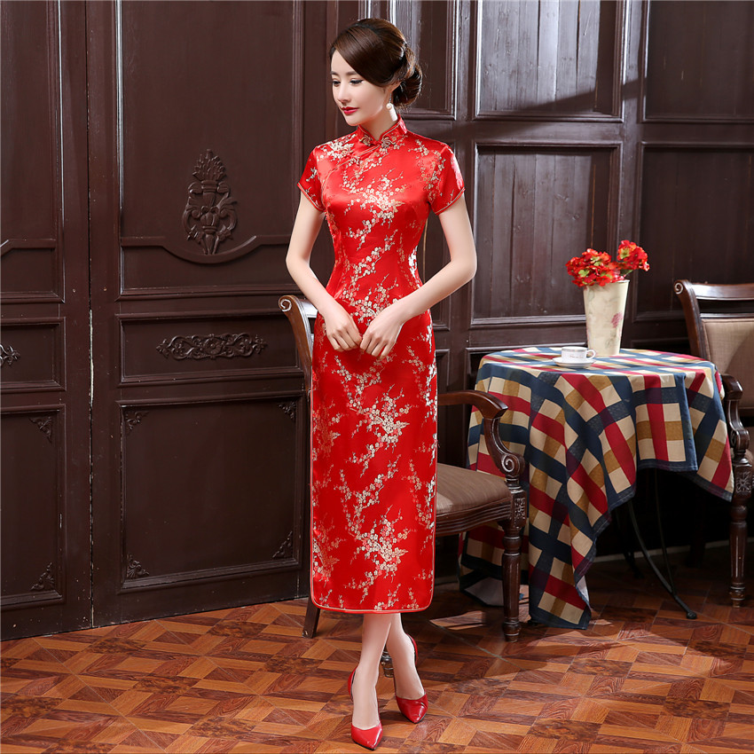 Slim Traditional Chinese Style Women Cheongsam Vestidso Mandarin Collar Vintage Flower Qipao Long Sexy Evening Party Dress