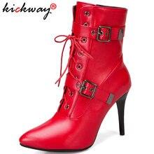 Пикантные женские ботильоны с пряжкой; Модные ботинки на высоком
