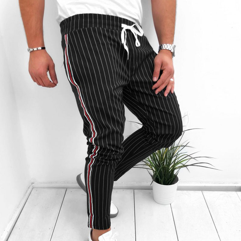 2019 Fashion New Arrival Best Selling Men Striped Casual Pants Fashion Trousers Adjustable Drawstring Sweat Pants Trousers K2 in Skinny Pants from Men 39 s Clothing