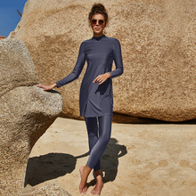 Solid-color Long-sleeve Trousers Surround Swimsuits Conservative Beach Surfing Sunscreen Swimsuits Muslim Swimsuits Two-piece