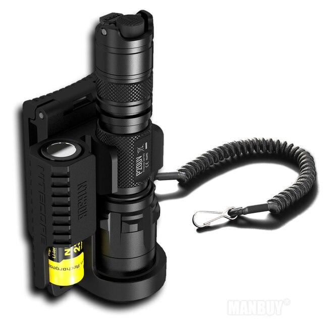 Indirim NITECORE P20 P20UV taktik LED el feneri su geçirmez açık kamp avı taşınabilir NTL10 + NTH30B + 2300mah pil paketi