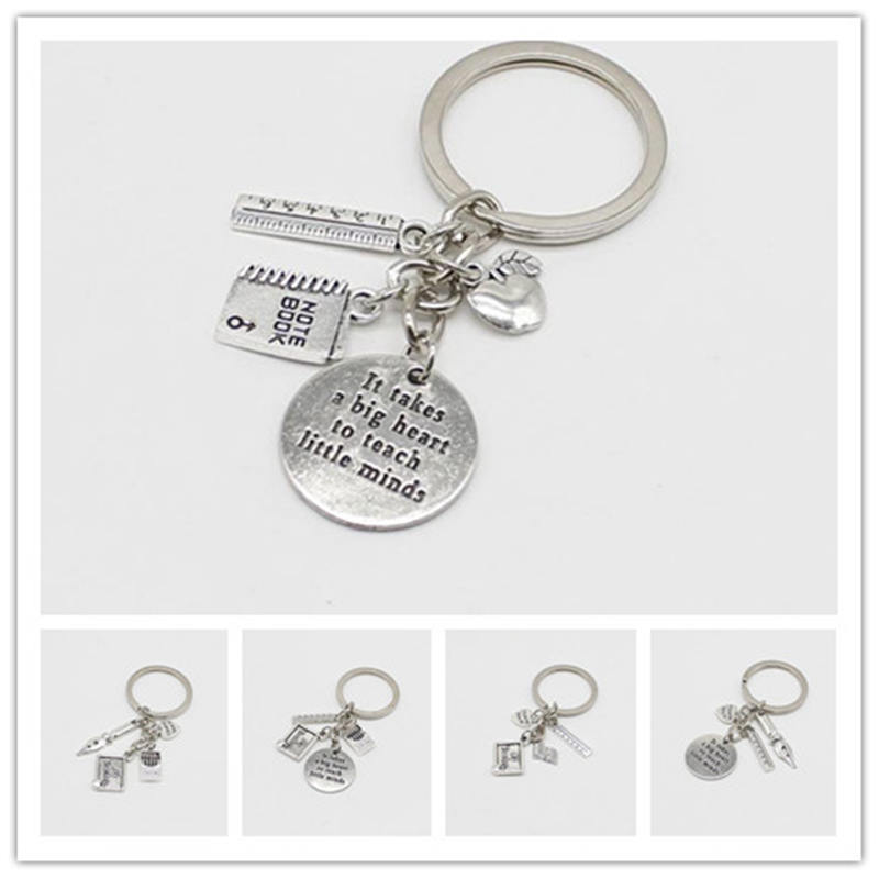 Personality Antique Silver Keychain Love Apple Ruler ABC Book Charm Keychain Teacher Jewelry Teacher's Day Gift