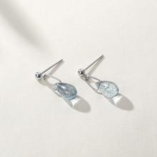 925 Sterling Silver Water Drop Blue Crystal Stud Earrings Oval Elegant Minimalist 2019 Womens Jewelry Gift