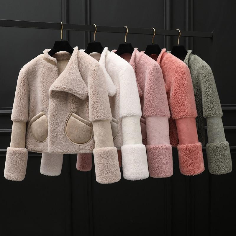 Coat Winter Women Real Fur Coat Female Sheep Shearling Fur Jacket Women Clothes 2020 Korean Jackets Manteau Femme MY4581 S