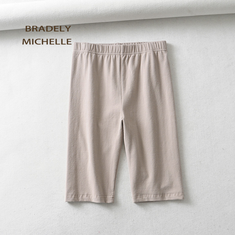 BRADELY MICHELLE sexy women cotton high waist elastic pure color slim Knee-Length bikeshorts leggings female 6