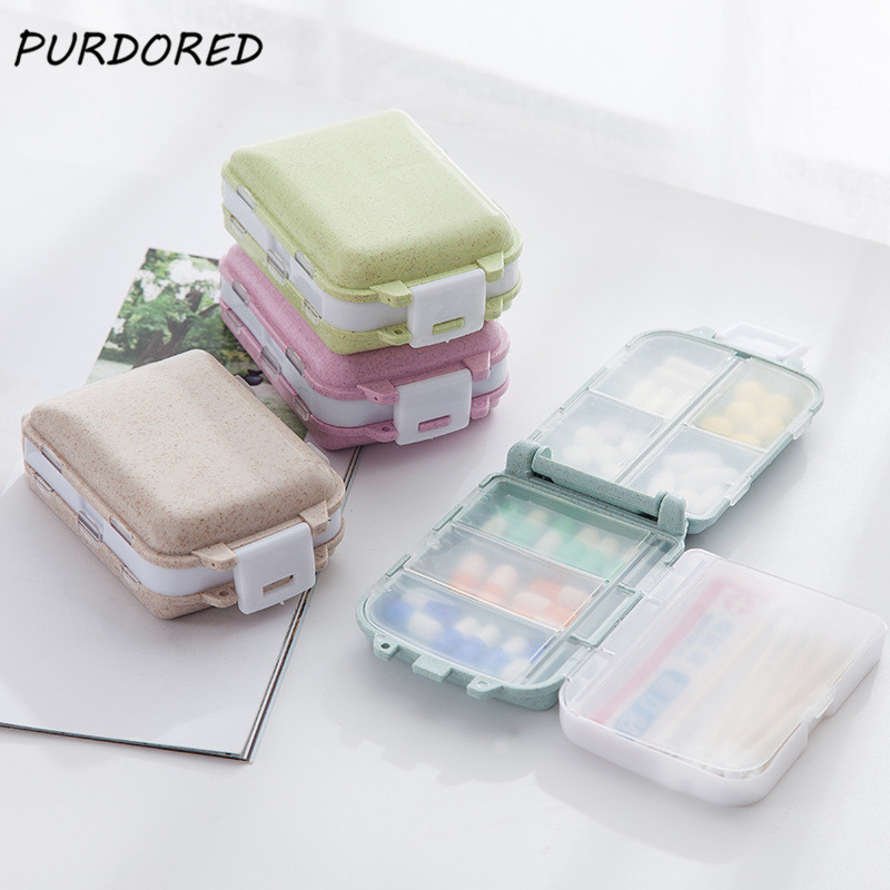 PURDORED 1 Pc Travel Pill Box Wheat Straw Portable Pill Case Medicine Box Holder Storage Organizer Container Viaje Accesorio