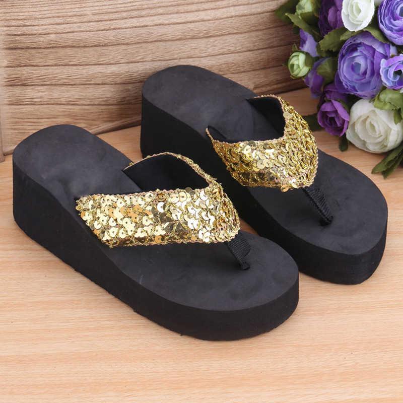 2019 Verão Moda Das Mulheres Lantejoulas Sapatos Anti-Slip Sandálias de Cunha Tanga Meados Saltos Plataforma Chinelos Chinelos de Praia Ao Ar Livre Indoor