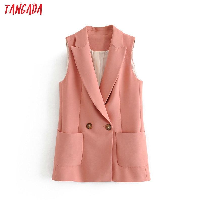 Tangada Woman Pockets Pink Long Vest Coat Office Ladies Waistcoat Sleeveless Blazer Double Breasted Outwear Elegant Top 3H317