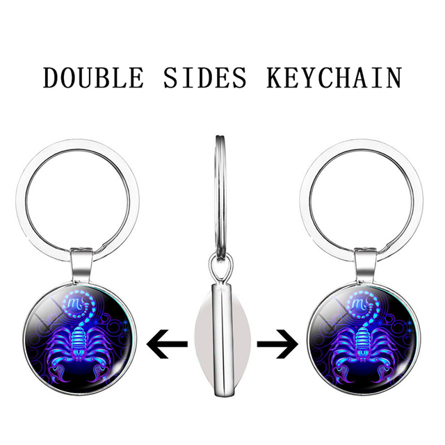 12 Zodiac Sign Keychain Sphere Ball Crystal Key Rings Scorpio Leo Aries Constellation Birthday Gift for Women and Mens 3