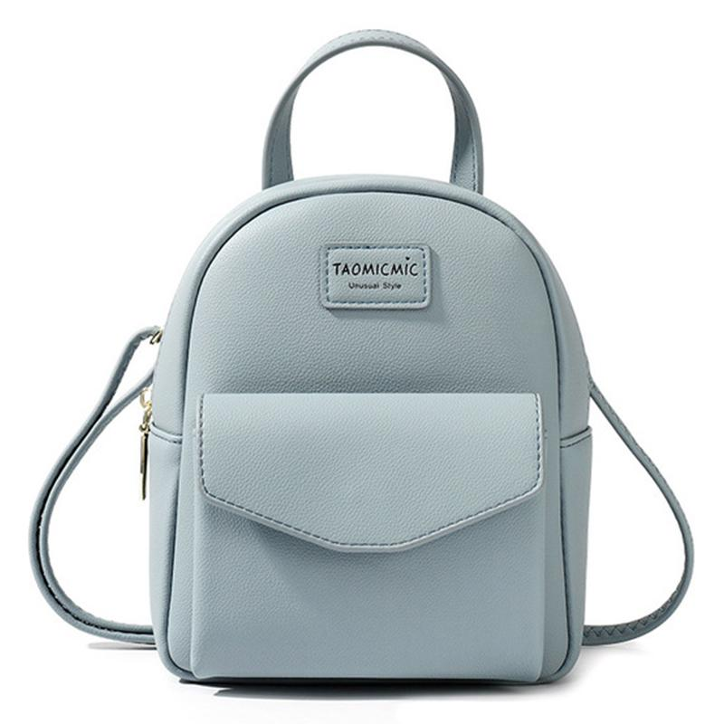 Backpack Girl Sweet Pink Shoulder Bags Fashion Simple Teenager School Bag Solid Color Zipper Mini Women Backpack Purse Rucksack