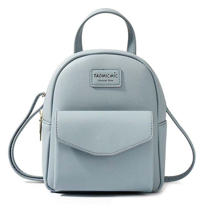 Backpack Girl Sweet Pink Shoulder Bags Fashion Simple Teenager School Bag Solid Color Zipper Mini Women Backpack Purse Rucksack