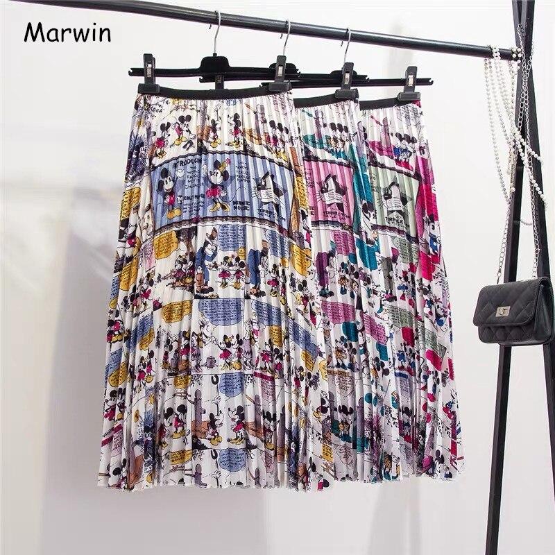 Женская плиссированная юбка Marwin, летняя плиссированная юбка до середины голени в европейском стиле