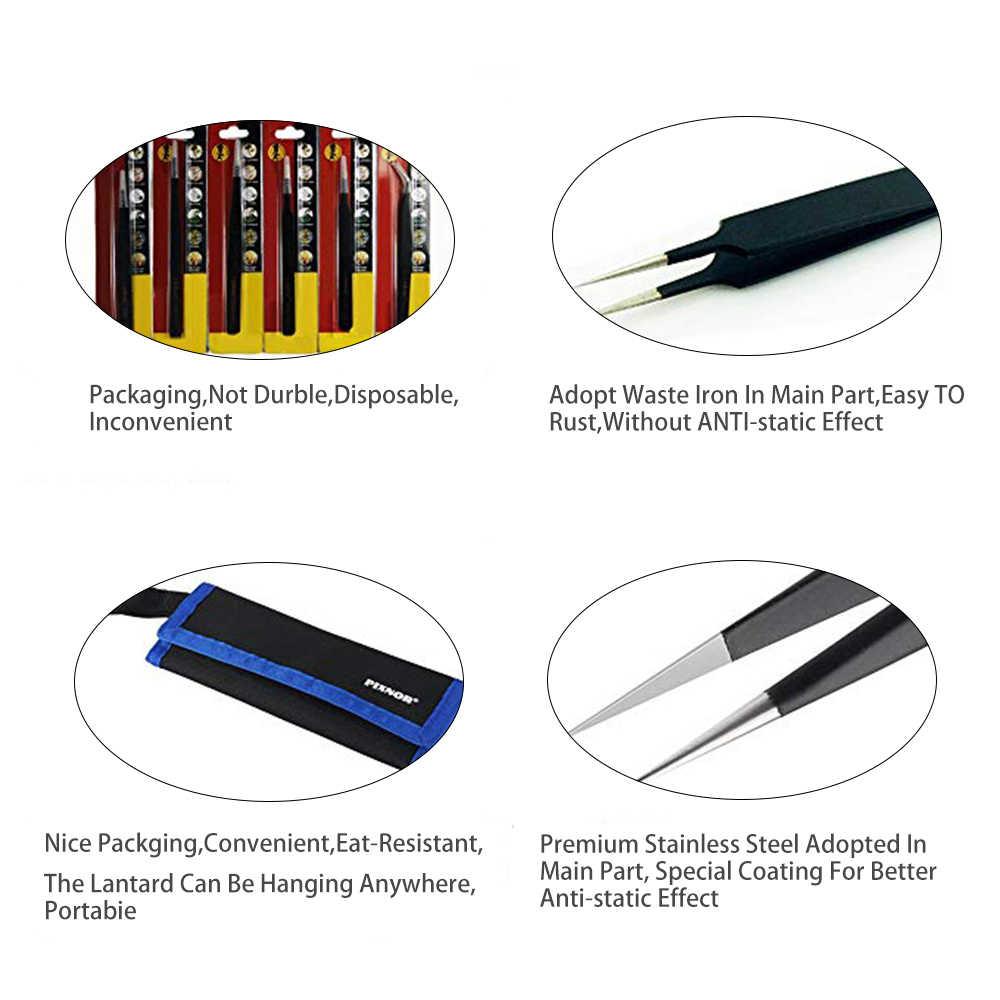 6/10Pcs ESD Stainless Pinset Set Alat Presisi Tinggi Tip Melengkung Lurus Antistatik Penjepit Multifungsi Nipper Alat Perbaikan