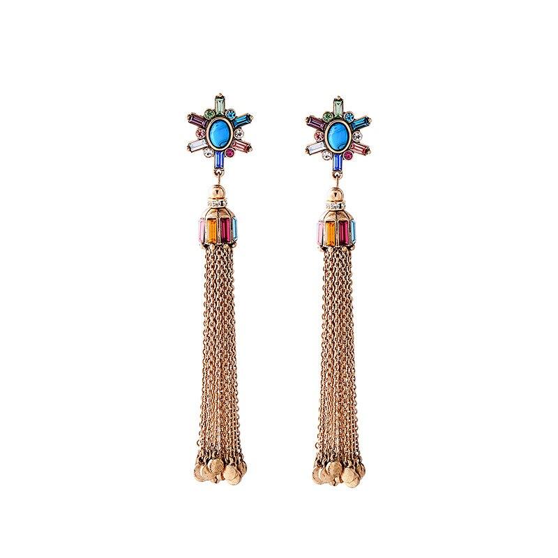 Elegant Tassels Ear Stud Women's Elegant Versatile Long Exaggeration Banquet Formal Dress Earrings Europe and America Ornament