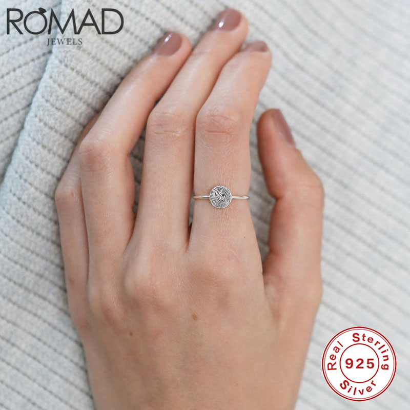 ROMAD Real 925 Sterling Silver Ring Personality Fingerprint OL Wedding Rings Minimalist Fashion Jewelry Charm Party Finger Rings