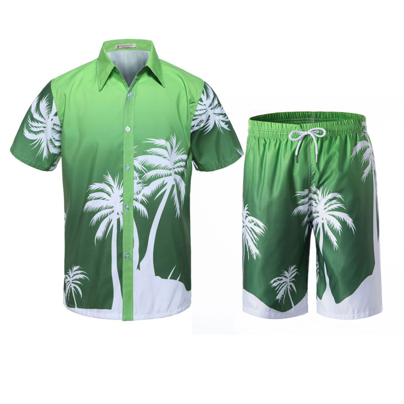 New Men's Set Summer Causal Beach Suits Short Sleeve Shorts Sweatsuit Swim Pants Plus Size Quick-dry Male Workout Wear 4XL 1