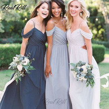 Real Rill Spaghetti Straps V Neck Cold Shoulder Bridesmaid Dresses Long A Line Chiffon Wedding Guest Dress For Party
