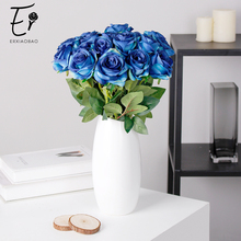 Erxiaobao 10 Pieces/Lot Gradient Rose Artificial Flowers Blue Red Yellow Fake Silk Wedding Flower Fall Decorations for Home