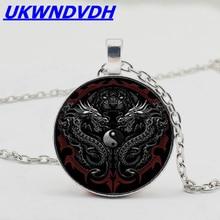 Yin Yang Dragon Pendant Necklace Astrology Zodiac Xiao Pendant, OL Style Fashion Bump Glass